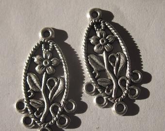 2 prints long flower motif in top (25) metal.