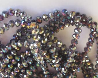 30 flat and round faceted beads glass 7-8 mm (9)