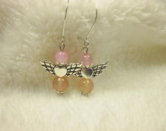 agate and metal (ø60) beads earrings