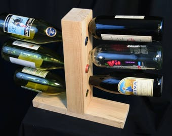Standing Wine Rack, Reclaimed Pine, Holds 6 Bottles, Rustic, Natural Finish
