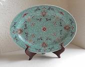 Turquoise Blue Asian China Platter Like Wan Shou Wu Jiang