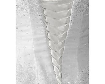 Wedding Gown Zipper Replacement Soft White Satin Adjustable Fit Corset Back Kit