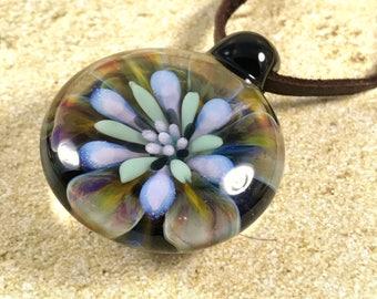 Tropical flower necklace glass beads pendant Handmade custom jewelry Lampwork beads Glass flowers Boro beads