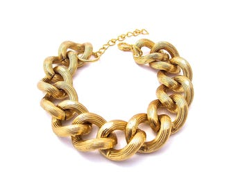 Oversize Textured Gold Chunky Chain Bracelet Stackable Sets Available