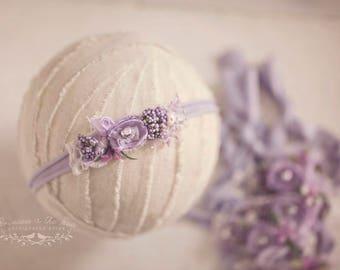 Newborn Lavender Headband, Veronica Headband, Lavender Photo Prop, Newborn Prop, Purple Headband, Violet Headband, Purple Ivory Headband