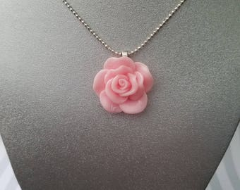Frosted white dahlia ear stud pink rose pendant necklace audiocablefo light ideas