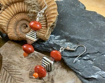 Red Coral Earrings - Handmade - Jewelry - Gifts for Her