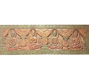 Meditation Antique Hand carved Buddha Wall Hanging, Wall Sculpture , Panel,  Yoga Studio, Spiritual Zen Interior Decor