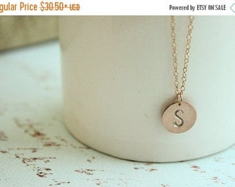 Rose Gold Initial Necklace - Traditional Euro Font, personalized rose gold initial disc necklace, customized letter necklace