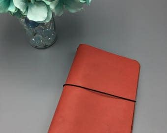 Coral Red - Leather Traveler's Notebook/Fauxdori/TN Planner Cover