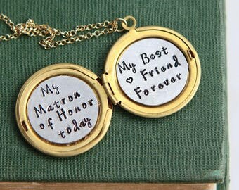 Matron of Honor Gift Necklace, Maid of Honor Proposal gift, Will You Be My Matron of Honor, Maid of Honor Gift, Wedding Gift from Bride