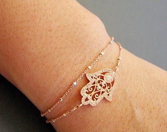Hamsa Hand Bracelet, Layered Bracelet, Protection bracelet, Dainty jewelry, Hamsa jewelry, celebrity inspired jewelry