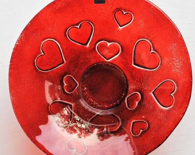 Vintage Mats Jonasson Red Glass Heart Candle Holder or Bowl Rare