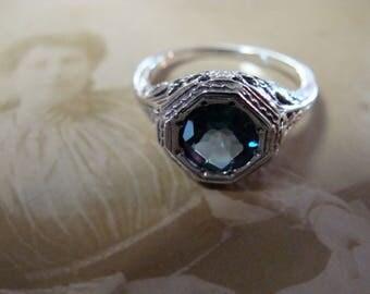 Sweet Sterling London Blue Topaz Ring Size 6.75