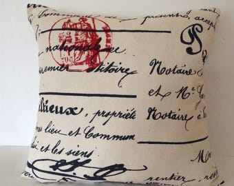 French Script Pillow Cover, Penmanship Red Stamp Pillow Cover, 18''x18'' Decorative Pillow Cover