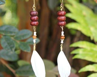 Feather Earrings - White Beaded Feather Earrings, Dangle Earrings, White Long Earrings, White Feathers