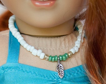 American Girl doll sized bead necklace with feather