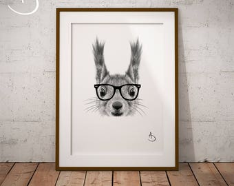 CUTE HIPSTER SQUIRREL Drawing download, Wall decor, Hipster Squirrel Print, Printable Squirrel Poster, Squirrel Decor, Hipster Animal Print