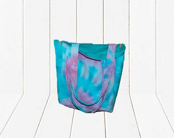 Eco Friendly Reusable Shopping Bag Large Reversible Tie Dye Tote Bag in Pink & Purple