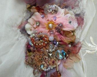 Adorned flowers fairytale brooch