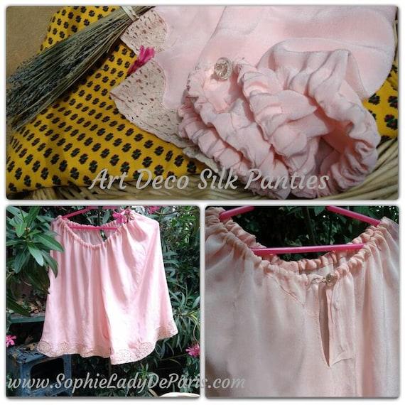 Art Deco Pink Silk Crepe Panties French 1930's Handmade Lingerie Beige Chantilly Lace Trim Xlarge #sophieladydeparis