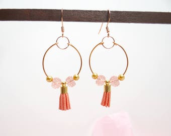 Copper Hoops with a Tassel