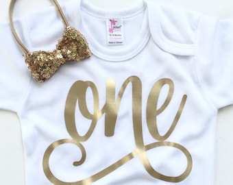 Girl One Year Outfit, Baby Girl First Birthday Outfit, Cake Smash Pictures outfit, One, Gold Sequin Headband, First Birthday Outfit Girl