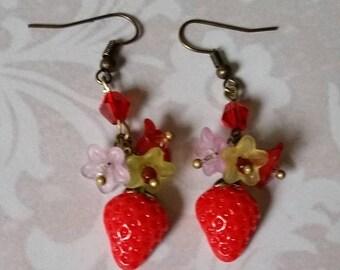 SUMMER HEAT SALE Summer Strawberry Delight Dangle Earrings