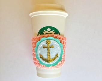 Anchor Coffee Cozy ~ Crochet Coffee Cozy ~ Coffee Cozie ~ Reusable Cup Sleeve