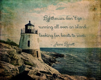 Castle Hill Lighthouse Fine Art Photography Rhode Island Lighthouse Nautical Print Cabin Decor Lake House Anne Lamott Quote New England
