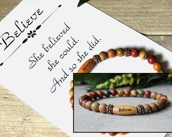 Card, Inspirational Jewelry, Message Bracelet, Encouragement Gift, Gift for Daugher, Gift for Her, Red Bracelet, Gemstone Bracelet, Cards