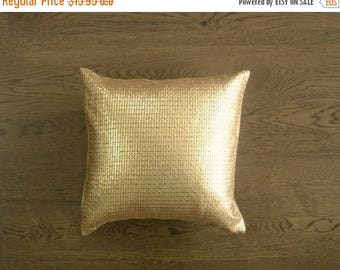 CHRISTMASINJULY SALE Gold Pillow Cover - Gold Metallic Sequins Embroidered on Gold Art Dupioni Fabric Pillow Case - 16 inches - rd2