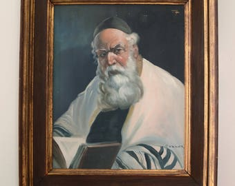 Rabbi painting, signed by Cohner, with frame