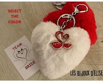 Swan Big Heart Keychain Fluffy Imitation Fur Heart Keychain Faux Fur Party Favors Bridesmaids Team Bride (KC126)