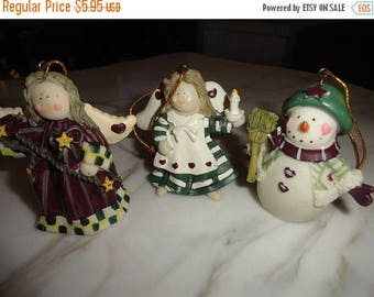 50% OFF Lot of vintage christmas ornaments Angels and snowman dot eyes