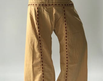 FW0013 Hand stitch Inseam design for Thai Fisherman Pants Wide Leg pants, Wrap pants, Unisex pants