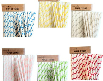 Drinking Paper Straws Tableware Birthday Party Wedding - Points Retro Design - various colors