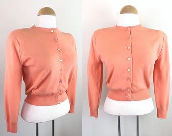 Vintage 1950s Cardigan / Tangerine / Soft / 50s sweater