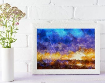 Sunrise painting, impressionist painting, beach painting, fine art, photo print, waves, low tide, reflection, sun, surf, sand, ocean