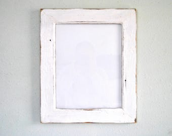 11 x 14 chippy white old home ship lap siding wood frame reclaimed and re purposed weathered and distressed one of a kind - White Wood Frame
