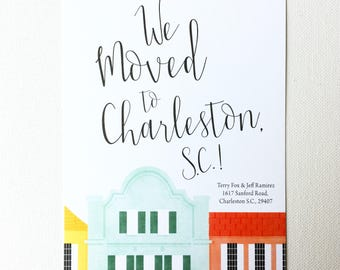New Address Announcement Cards, Moving Announcement, New Home Cards, Change of Address Rainbow Row Townhouses Colorful Charleston SC