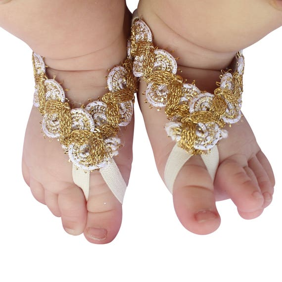 Infant Sandals, Gold Baby Sandals, Barefoot Sandals, Wedding Sandals, Newborn Sandals, Beach Sandals, Braided Sandals.