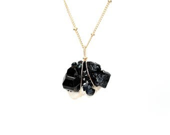 Black tourmaline matrix necklace, raw healing crystal necklace, black crystal necklace, mineral necklace, gold filled necklace