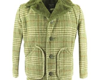 Vintage 50s Vanderbilt Coat Mens 36 Deadstock D Pockets Wool Plaid Jacket [H05R_3-2]