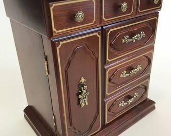 Unique wood jewelry box concealed drawers vintage brass mirror beige liner hooks hinged top lid earrings rings