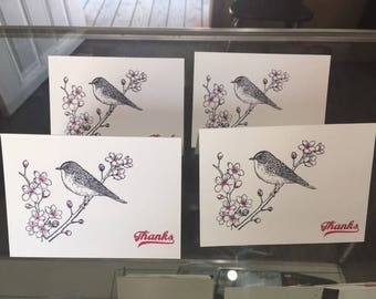 Set of 4 Cherry Blossom Thank You Cards