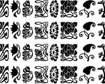 Art Nouveau Flowers Black Silk Screen Enamel Fused Glass Decals  17CC836