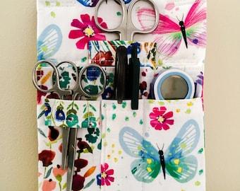 Butterfly and Flowers Tool Belt Pouch Scrub Pocket Organizer Vet Tech Vet Doctor Nurse