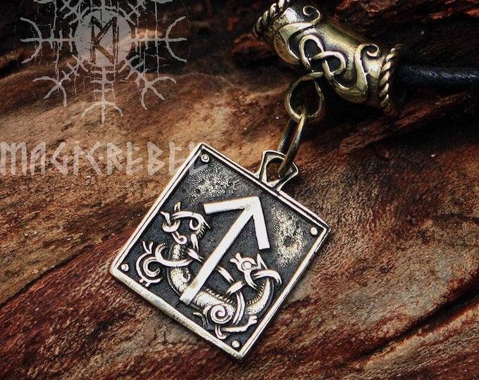 Bronze Teiwaz Tyr Tiw Rune Talisman Nordic Runic Amulet Pendant Necklace