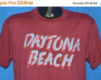 ON SALE 80s Daytona Beach Dripping Paint Maroon Vintage t-shirt Large